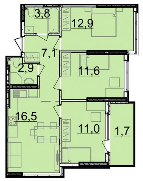 Планировки трехкомнатных квартир 67.5 м^2